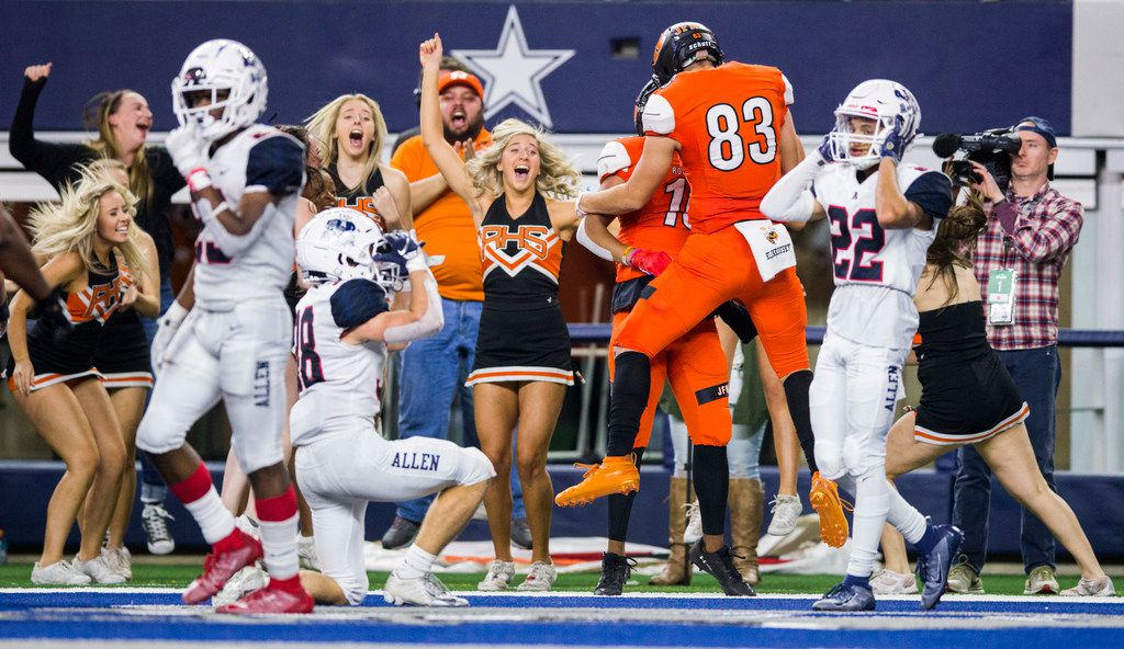 Rockwall reacts to scoring a two-point conversion to win a Class 6A Division I area-round high school football playoff game between Allen and Rockwall on Friday, November 22, 2019 at AT&T Stadium in Arlington. Rockwall won 60-59. (Ashley Landis/The Dallas Morning News)
