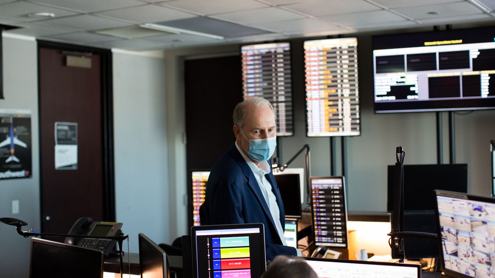 Southwest Airlines CEO Gary Kelly visited the company's operations center at Houston Hobby Airport in June 2020.