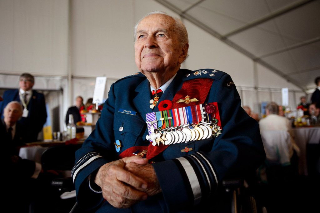 Canadian Lt.-Gen. Richard Rohmer takes part in the veterans reception during the D-Day 75th Anniversary in Portsmouth, England Wednesday, June 5, 2019.   Queen Elizabeth II and world leaders gathered Wednesday on the south coast of England to honor the troops who risked and gave their lives 75 years ago on D-Day, a bloody but ultimately triumphant turning point in World War II.
