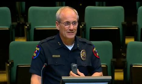 Plano Police Chief Greg Rushin tells City Council members that his officers will have the body-worn cameras on their chests to capture the best view.