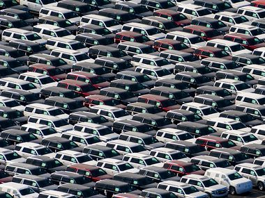 Aerial view of new SUVs on a lot near the General Motors Assembly Plant on Sunday, Jan. 12, 2020, in Arlington, Texas. (Smiley N. Pool/The Dallas Morning News)