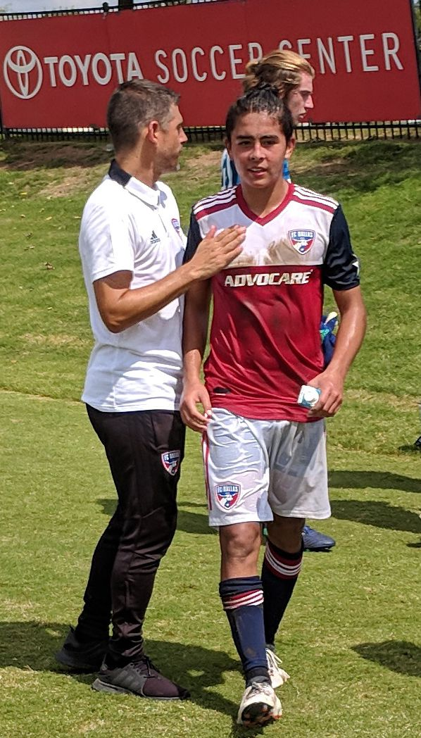 David Rodriguez is congratulated by then FCD Academy Director Luchi Gonzalez. (9-15-18)