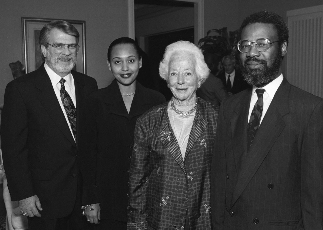 Denise Cros-Toure (second from left) with longtime Dallas philanthropist Margaret McDermott at a 1993 event honoring supporters of the African  American Museum in Fair Park.