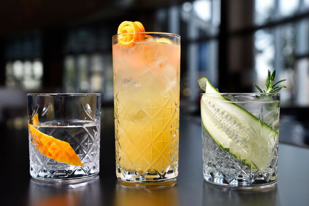 Nonalcoholic cocktails (from left):  the Grove, Spice and Garden cocktails with Seedlip nonalcoholic spirits at Pegasus Bar inside the Omni Hotel in downtown Dallas.