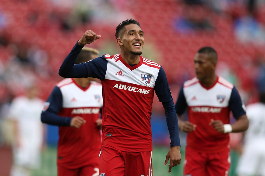 Frisco, Texas: Jesus Ferreira #27 of FC Dallas celebrtate after scores during game between FC Dallas and Portland Timbers on April 13, 2019 at Toyota Stadium. (Photo by Omar Vega / Al Dia Dallas)