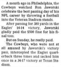 The Dallas Morning News article written by Mitch Lawrence, November 25, 1985.