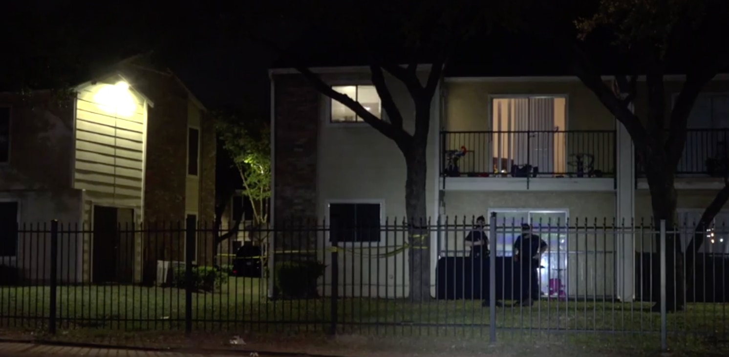 Dallas police at the scene of a fatal shooting in the 9900 block of Whitehurst Drive.