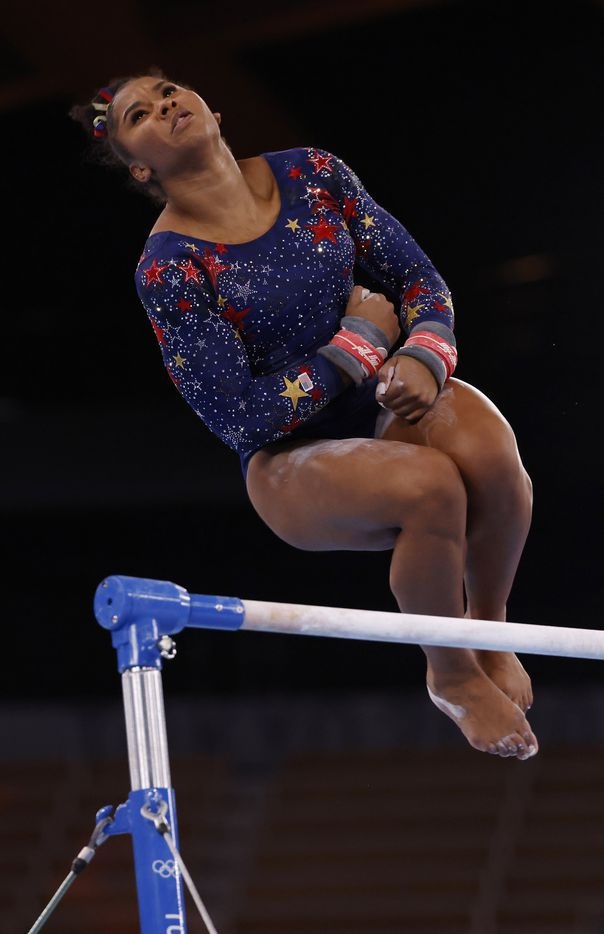 USA's Jordan Chiles competes on the uneven bars in a women's gymnastics event during the postponed 2020 Tokyo Olympics at Ariake Gymnastics Centre on Sunday, July 25, 2021, in Tokyo, Japan. (Vernon Bryant/The Dallas Morning News)