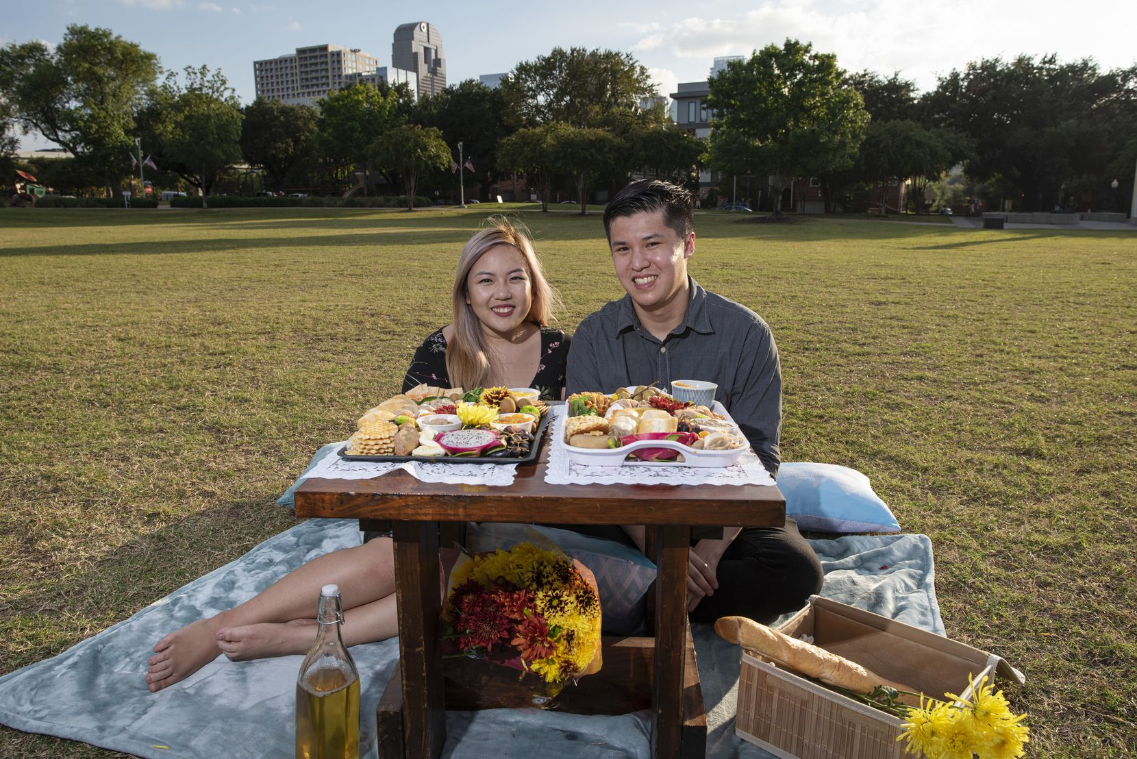 Chả Cutie co-owners Violet Huynh, 23, of Garland, and Gavin Seto, 26, of Richardson, with samples of their Vietnamese charcuterie