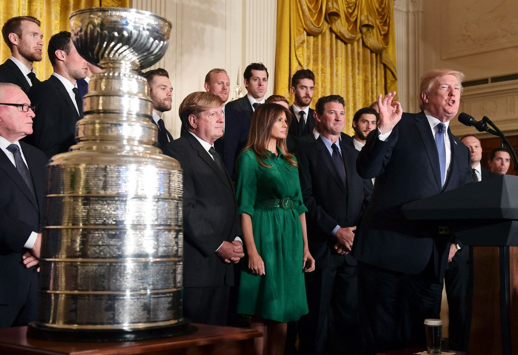 President Donald Trump speaks during a ceremony to honor the 2017 NHL Stanley Cup champion Pittsburgh Penguins on Oct. 10, 2017, in the East Room of the White House.