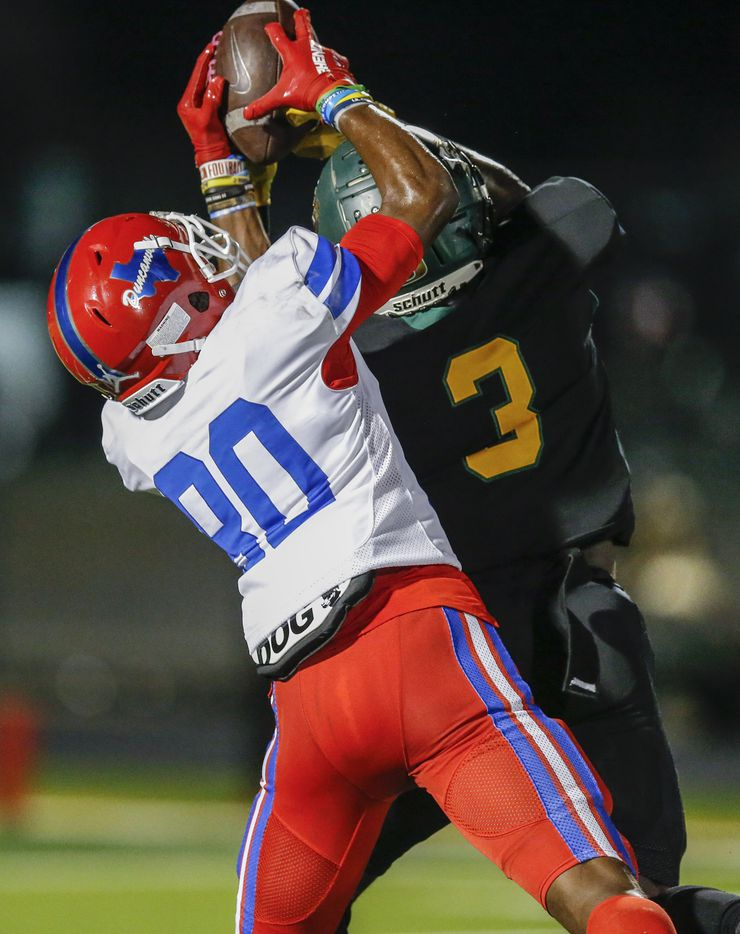 DeSoto senior defensive back Devyn Bobby (3) breaks up a pass intended for Duncanville freshman wide receiver Dakorien Moore (80) during the first half of a high school football game at DeSoto High School, Friday, September 17, 2021. (Brandon Wade/Special Contributor)