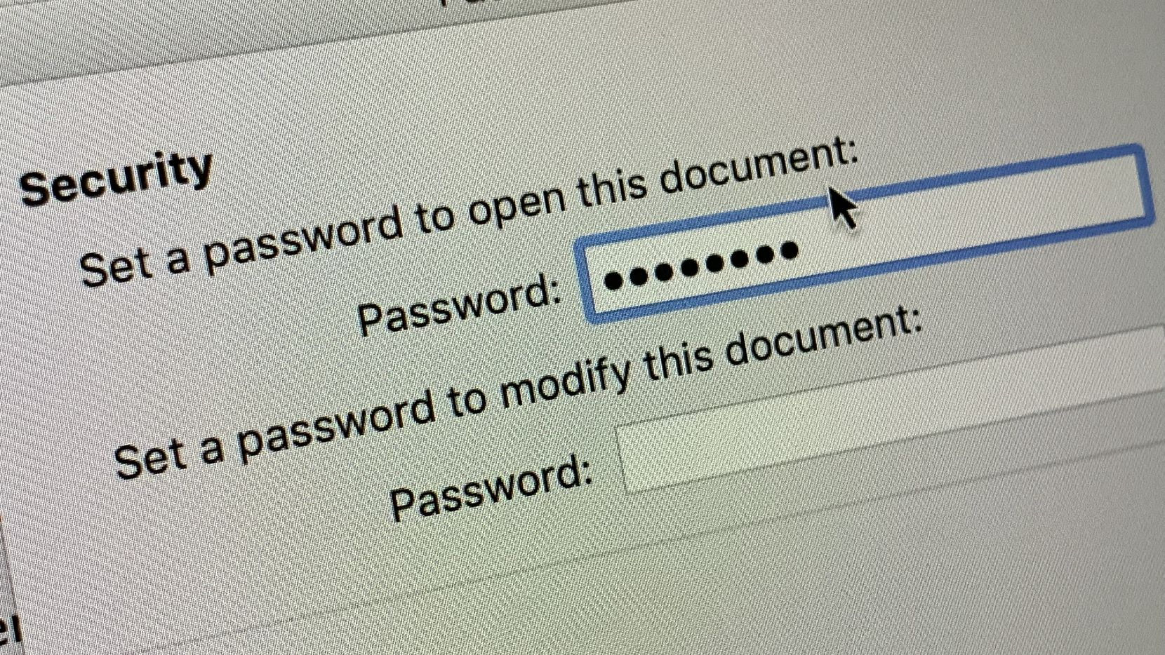 The dialog box to password protect a Microsoft Word document.