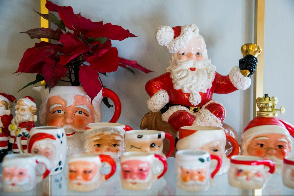 A collection of vintage Christmas ornaments and decorations are displayed in the home of Caroline Nelson.
