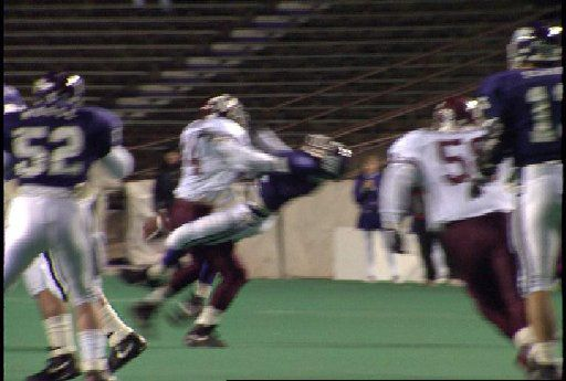 Texas A&M linebacker Quentin Coryatt puts devastating hit on TCU receiver Kyle McPherson during a 1991 game televised by ESPN. McPherson suffered a broken jaw in two places. In A&M football lore, this play play is now called 'The Hit.'