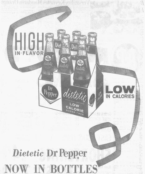 Clipping of Dietetic Dr Pepper ad published on March 21, 1963.
