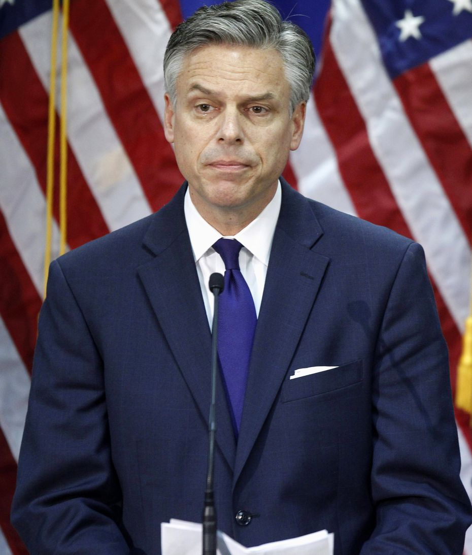Republican presidential candidate, former Utah Gov. Jon Huntsman, announces he is ending his campaign, Monday, Jan. 16, 2012, in Myrtle Beach, S.C.