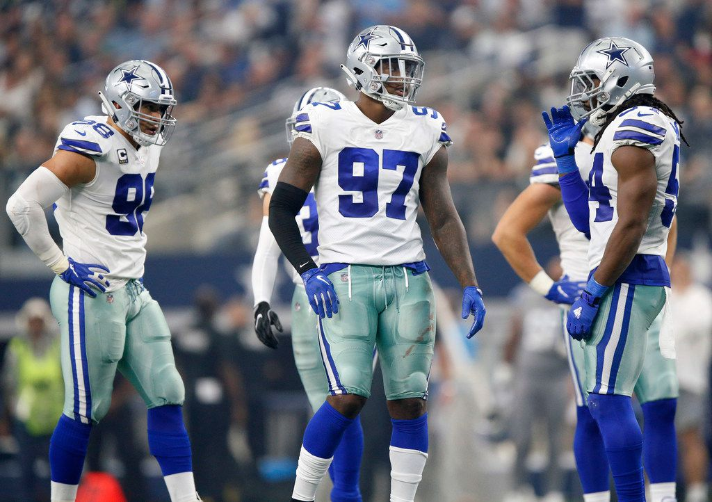FILE - Dallas Cowboys defensive end Taco Charlton (97) is pictured between plays during the second quarter against the Detroit Lions at AT&T Stadium in Arlington, Texas, Sunday, September 30, 2018.  (Tom Fox/The Dallas Morning News)