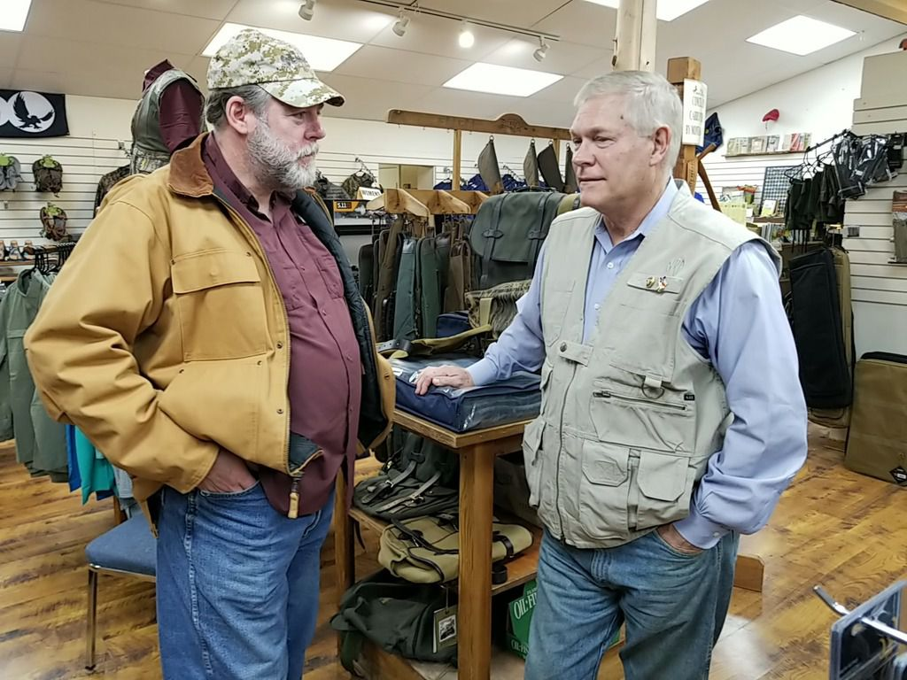 Former Dallas congressman Pete Sessions speaks with supporter Jerry Gribble in College Station at an outdoor supply store on Feb. 22, 2020. Sessions, who lost his seat in 2018 to Democrat Colin Allred, moved to Waco and shifted his sights to the 17th Congressional District seat being vacated by Rep. Bill Flores, R-Bryan.