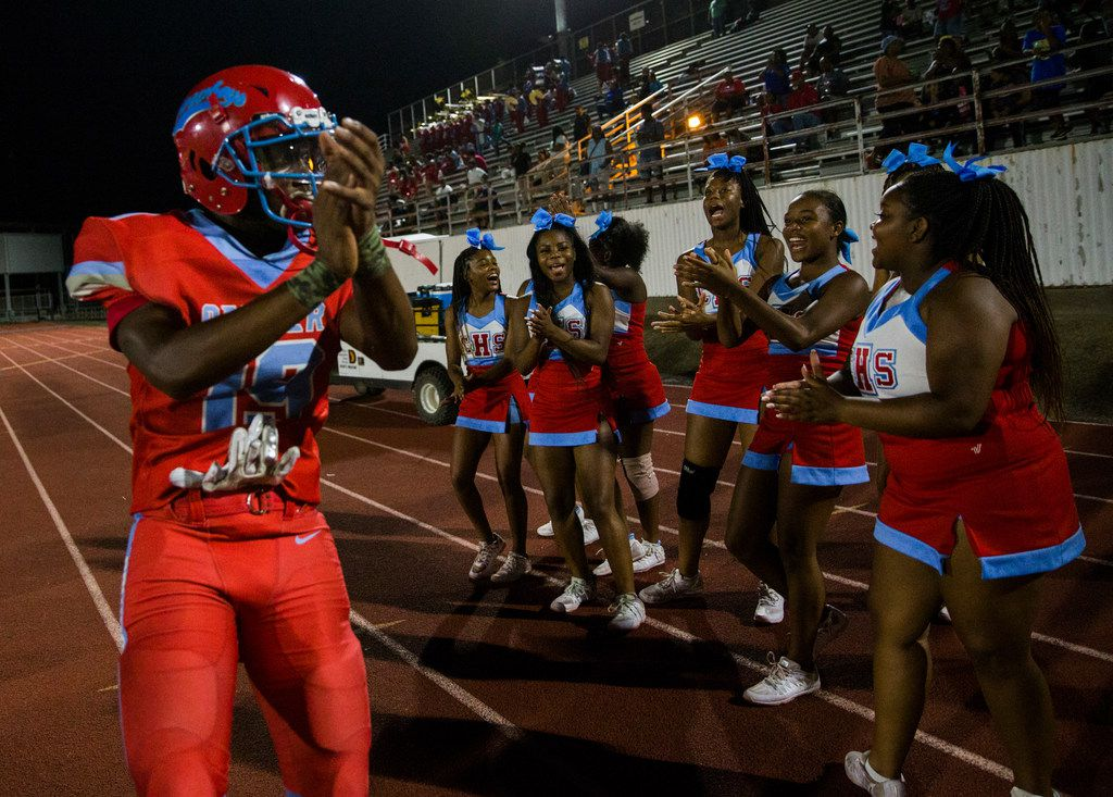Carter defensive back Ka'Darion Smith (19) celebrates a 39-22 win over Crandall after a 4A high school football game on Friday, September 20, 2019 at Sprague Stadium in Dallas.