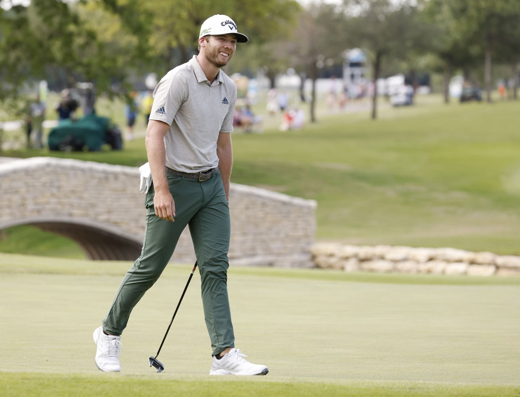 Sam Burns reacts after missing a putt for an eagle on the 18th hole during round 3 of the AT&T Byron Nelson  at TPC Craig Ranch on Saturday, May 15, 2021 in McKinney, Texas. Burns scored a birdie on the 18th hole to put him in the lead with -20. (Vernon Bryant/The Dallas Morning News)