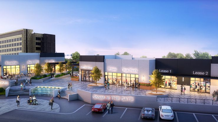 The new building under construction in The Gate project in Frisco will include retail and restaurant space.