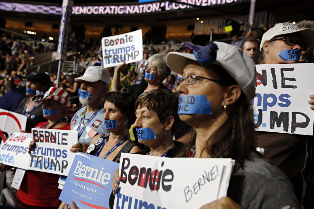 Bernie Sanders supporters silently protest during the Democratic National Convention on Monday, July 25, 2016 at Wells Fargo Center in Philadelphia, Pa.