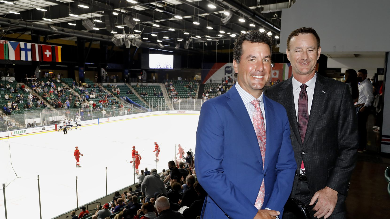 Marty Turco (left), executive director of the Dallas Stars Foundation, and Brad Alberts, Stars CEO, at the Comerica Arena in Frisco.