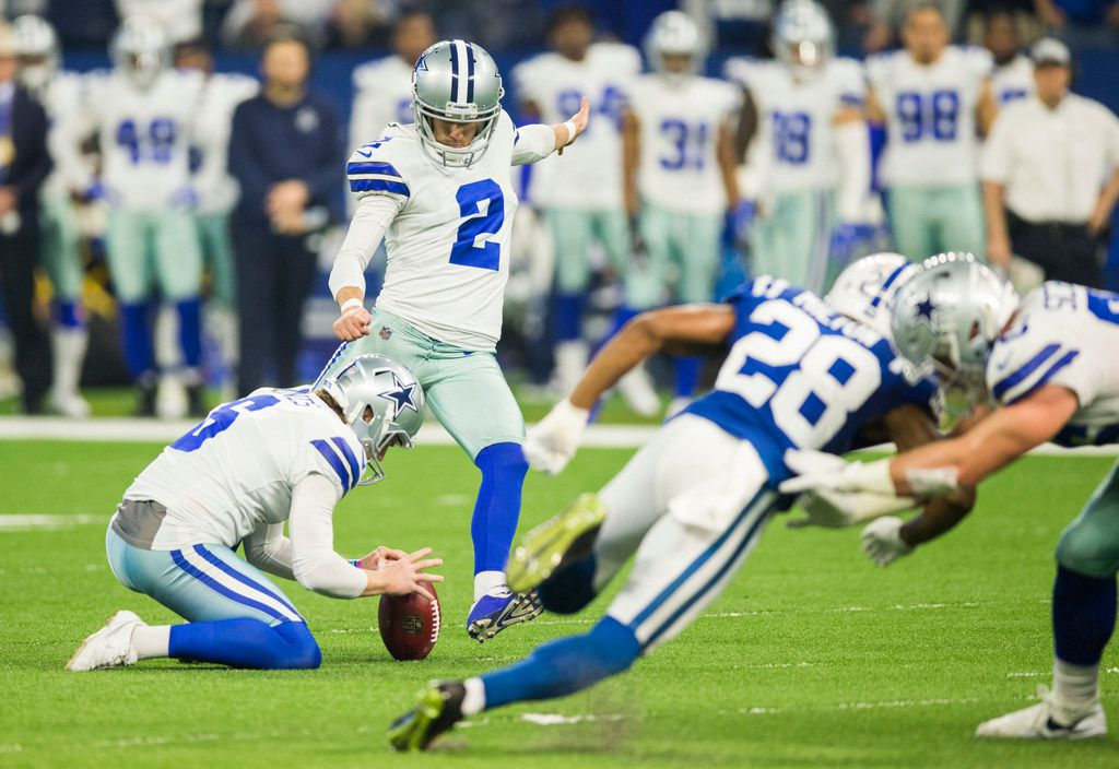 Dallas Cowboys kicker Brett Maher (2) attempts a field goal, which was deflected and run back by the Indianapolis Colts during the first quarter of an NFL game between the Dallas Cowboys and the Indianapolis Colts on Sunday, December 16, 2018 at Lucas Oil Stadium in Indianapolis, Indiana. (Ashley Landis/The Dallas Morning News)