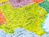 Un mapa político de Texas.