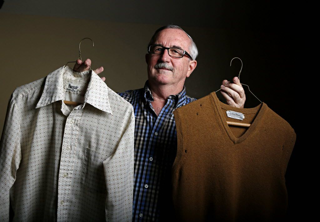 Dale Irby holds the 40-year-old dress shirt and sweater vest that helped launch the retired school teacher to Internet stardom following a story by The Dallas Morning News columnist Steve Blow last week.