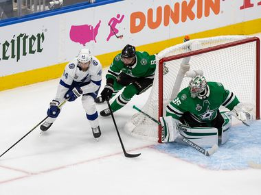 Andrej Sekera (5) and goaltender Anton Khudobin (35) of the Dallas Stars defend against Jan Rutta (44) of the Tampa Bay Lightning during Game Two of the Stanley Cup Final at Rogers Place in Edmonton, Alberta, Canada on Wednesday, September 23, 2020.