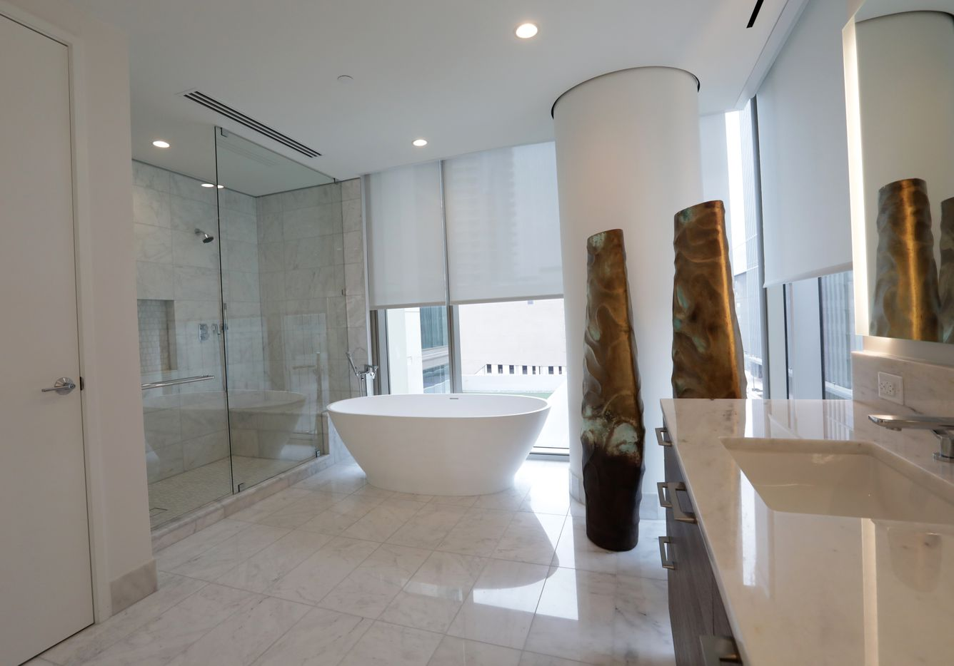 A master bathroom at Windrose Tower in Plano. (Jason Janik/Special Contributor)