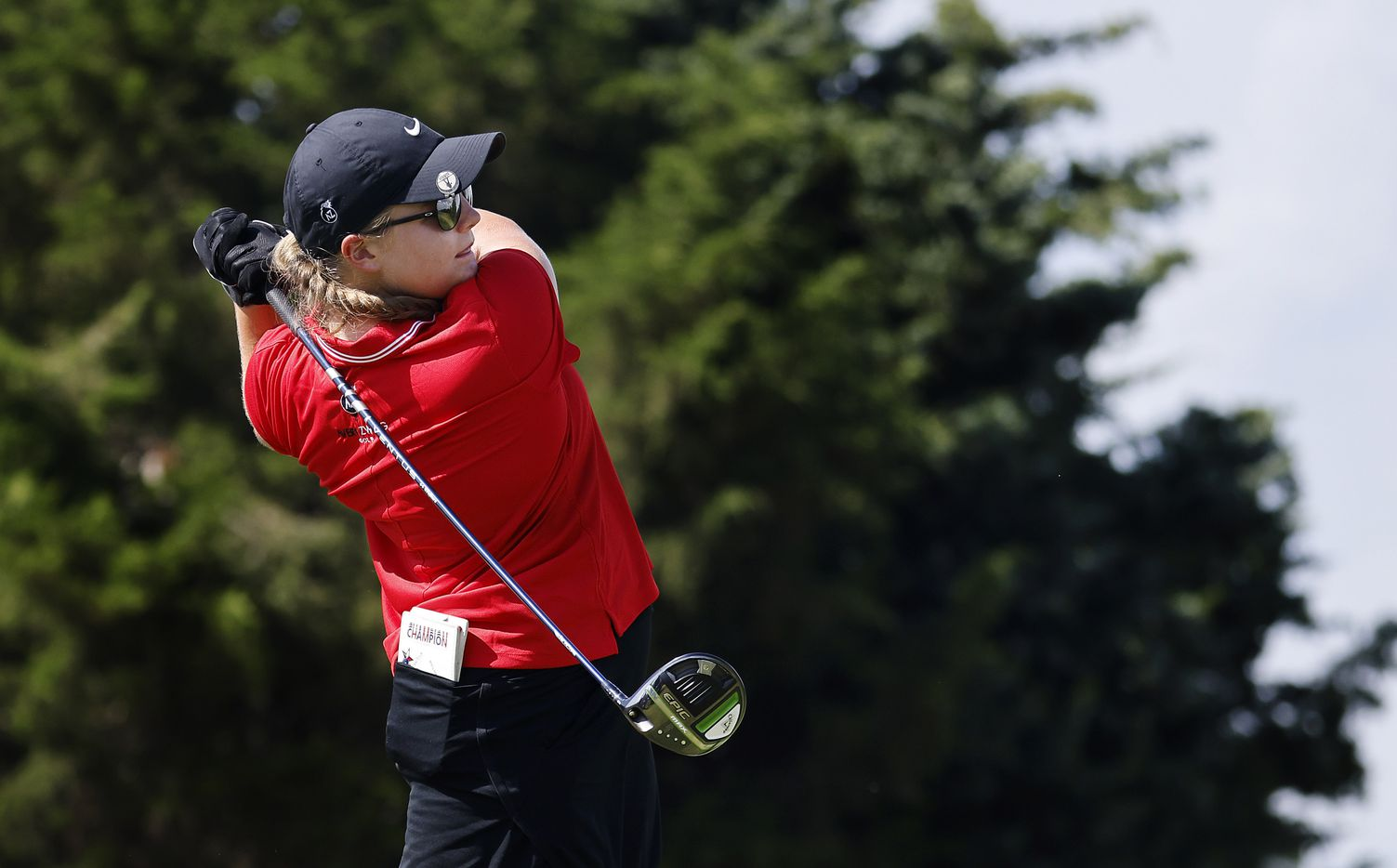 Amateur golfer Avery Zweig, 14, of McKinney fowls through on her drive off the 10th tee box during her opening round of the LPGA VOA Classic at the Old American Golf Club in The Colony, Texas, Thursday, July 1, 2021. (Tom Fox/The Dallas Morning News)