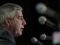 FILE - Big 12 commissioner Bob Bowlsby talks to the media after canceling the remaining basketball games in the Big 12 tournament due to concerns about the coronavirus on Thursday, March 12, 2020, in Kansas City, Mo.