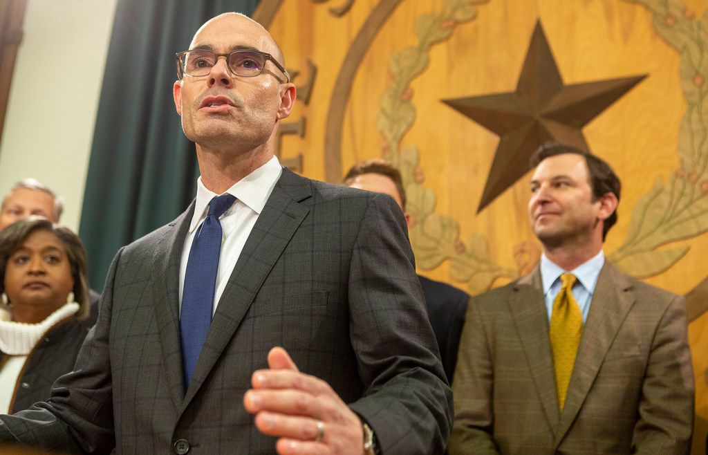 "Newly elected House Speaker Dennis Bonnen, R-Angleton, shown as he announced Nov. 12 that he had enough pledges to win the House's top job, has dismissed the notion that this year's Legislature might again expend great energy on a bill to regulate transgender people's use of bathrooms as it did in 2017. ""My intent is for the House to be focused on real issues,"" he said."