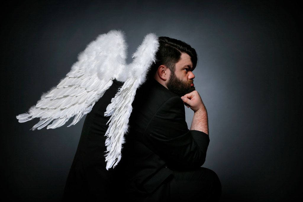 """Dallas performing artist Isaac Young as an """"angel"""" for his upcoming production of The Book of Gabe."""" Isaac is  founder of the recently launched Eccentric Bear Theater Co. and this will be his first show for Wild Detectives. (Tom Fox/The Dallas Morning News)"""