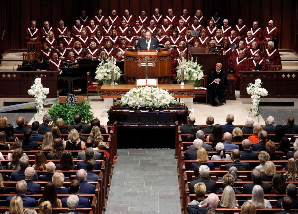Alan White tells stories about his longtime friend T. Boone Pickens during his funeral service Sept. 19, 2019, at Highland Park United Methodist Church in Dallas.