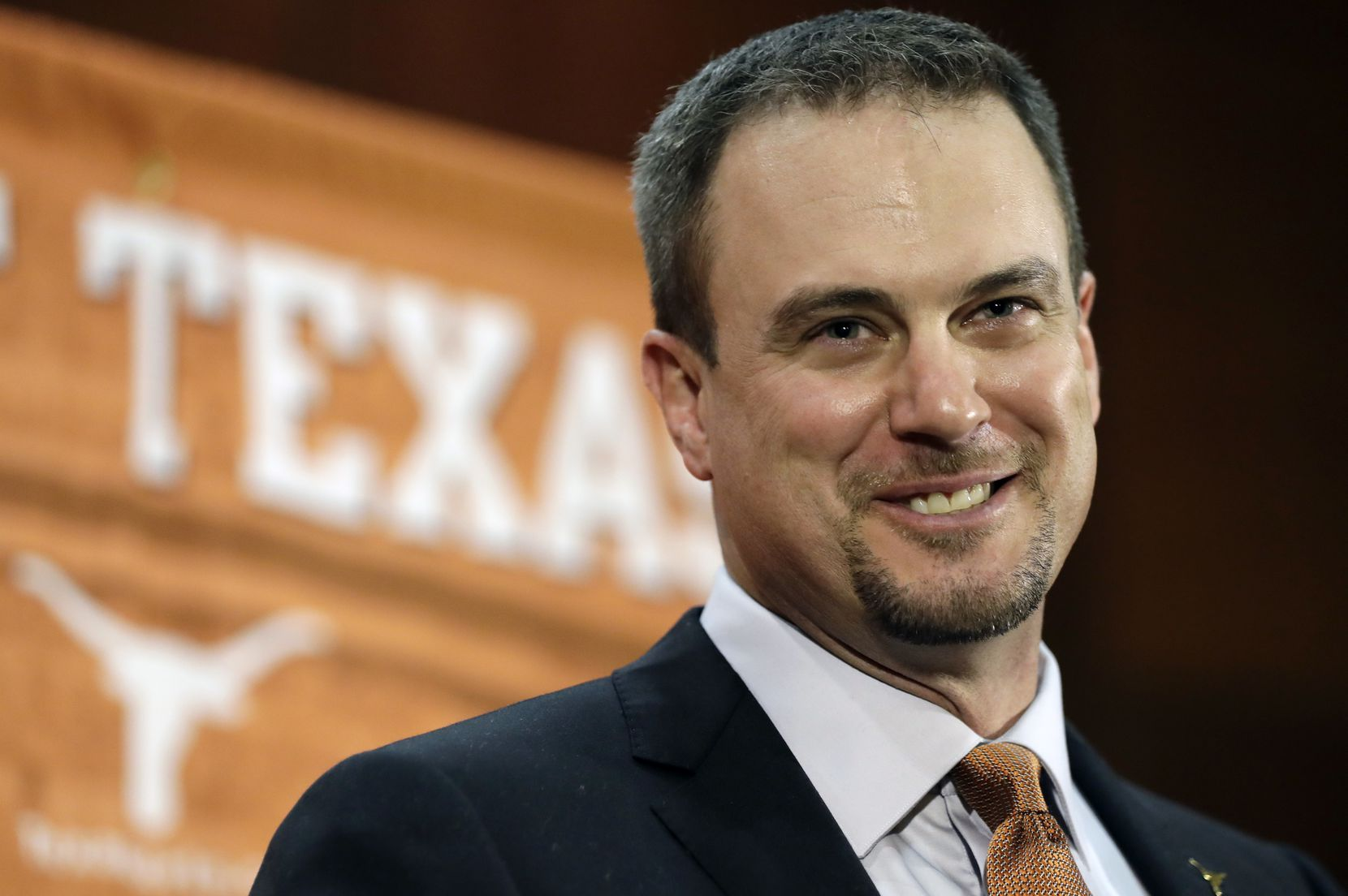 This Nov. 27, 2016, file photo shows Tom Herman talking to the media during a news conference where he was introduced as Texas' new head NCAA college football coach, in Austin.
