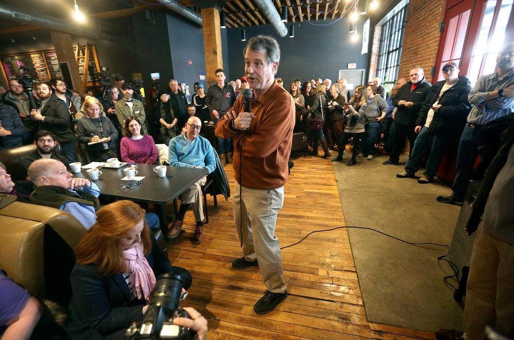 Sen. Sherrod Brown, an Ohio Democrat who said he is weighing a presidential bid, spoke during a meet-and-greet at Inspire Cafe in Dubuque, Iowa, on Feb. 2, 2019.