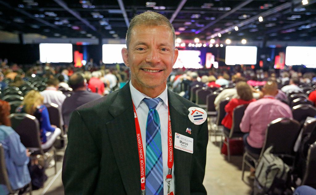 Marco Roberts, President of the Houston Chapter of the Log Cabin Republicans, is pictured at the 2018 Texas GOP Convention held at the Henry B. González Convention Center in downtown San Antonio.