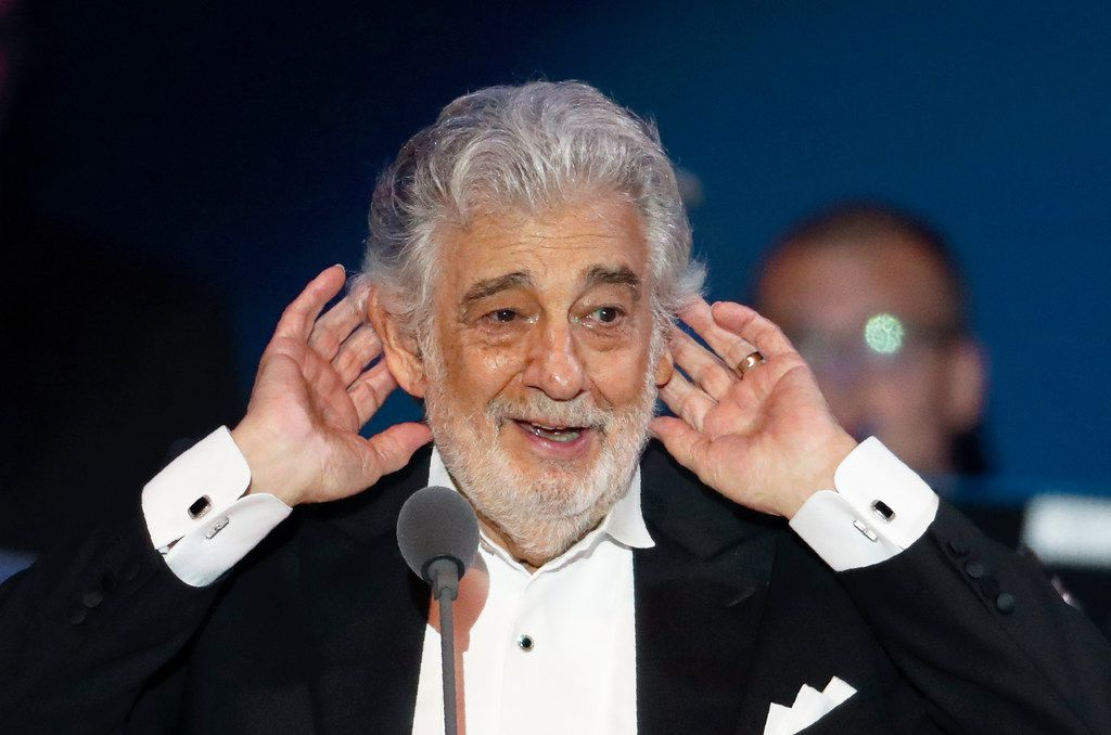 In this Aug. 28, 2019, file photo, opera star Placido Domingo listens to applause at the end of a concert in Szeged, Hungary.
