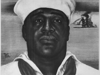 """A recruiting poster featuring Doris """"Dorie"""" Miller was used by the U.S. Office of War Information during World War II."""