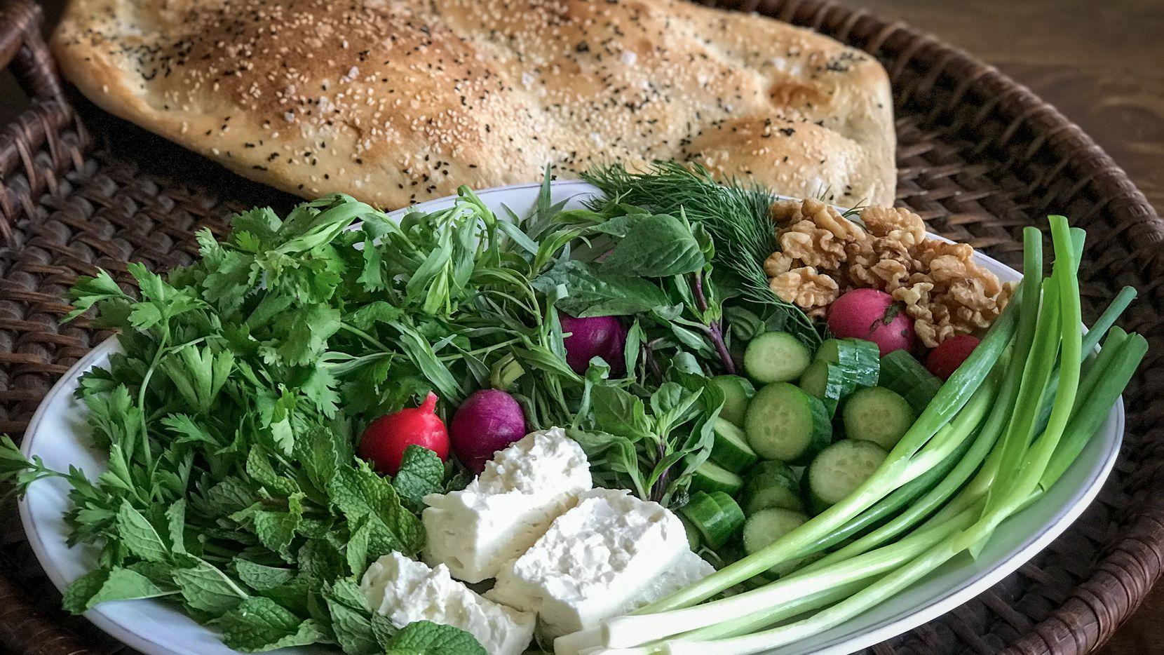 Sabzi khordan is a Persian platter of fresh herbs.