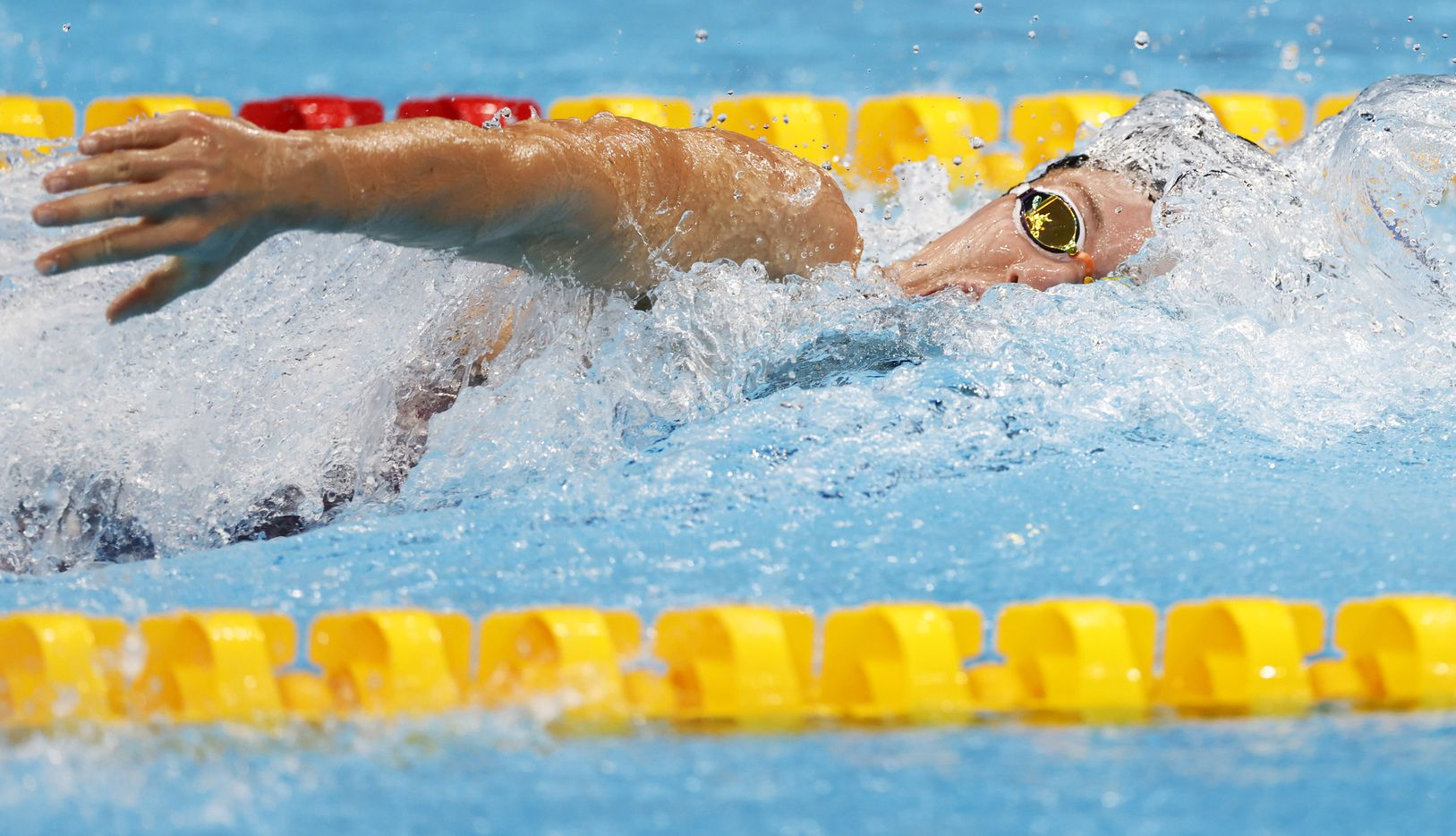 USA's Abbey Weitzeil competes in the women's 4x100 medley relay during the postponed 2020 Tokyo Olympics at Tokyo Aquatics Centre, on Sunday, August 1, 2021, in Tokyo, Japan. USA finished in second with a time of 3:51.60 to earn a silver medal. (Vernon Bryant/The Dallas Morning News)