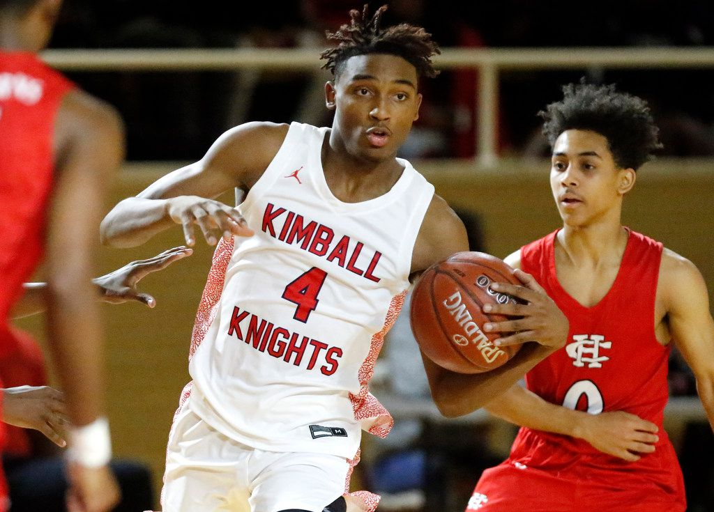 Kimball High School guard Arterio Morris (4) prepares to pass during the first half as Kimball High School hosted Cedar Hill High School at the Sprague Field House in Dallas on Tuesday, December 17, 2019.