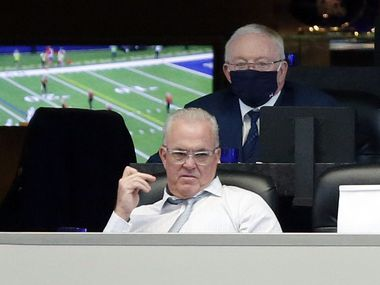FILE - Cowboys owner Jerry Jones and executive vice president Stephen Jones watch the team play during the second half of a game against the Browns on Sunday, Oct. 4, 2020, at AT&T Stadium in Arlington.