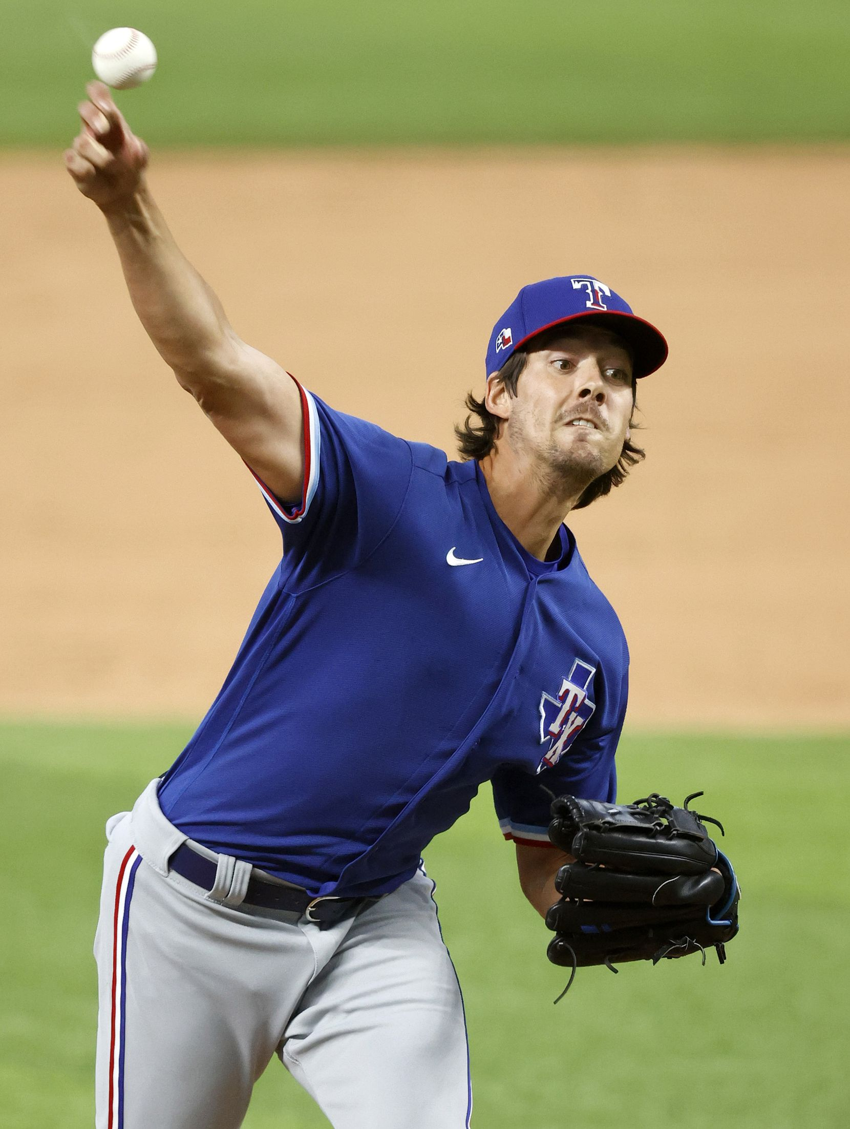 Texas Rangers Luke Farrell throws in relief during an intrasquad game at Summer Camp inside Globe Life Field in Arlington, Texas, Friday, July 10, 2020. (Tom Fox/The Dallas Morning News)