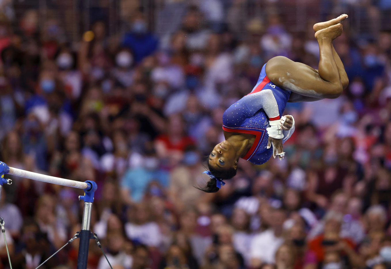 Simone Biles of World Champions competes in the uneven bars during day 1 of the women's 2021 U.S. Olympic Trials at America's Center on Friday, June 25, 2021 in St Louis, Missouri.(Vernon Bryant/The Dallas Morning News)