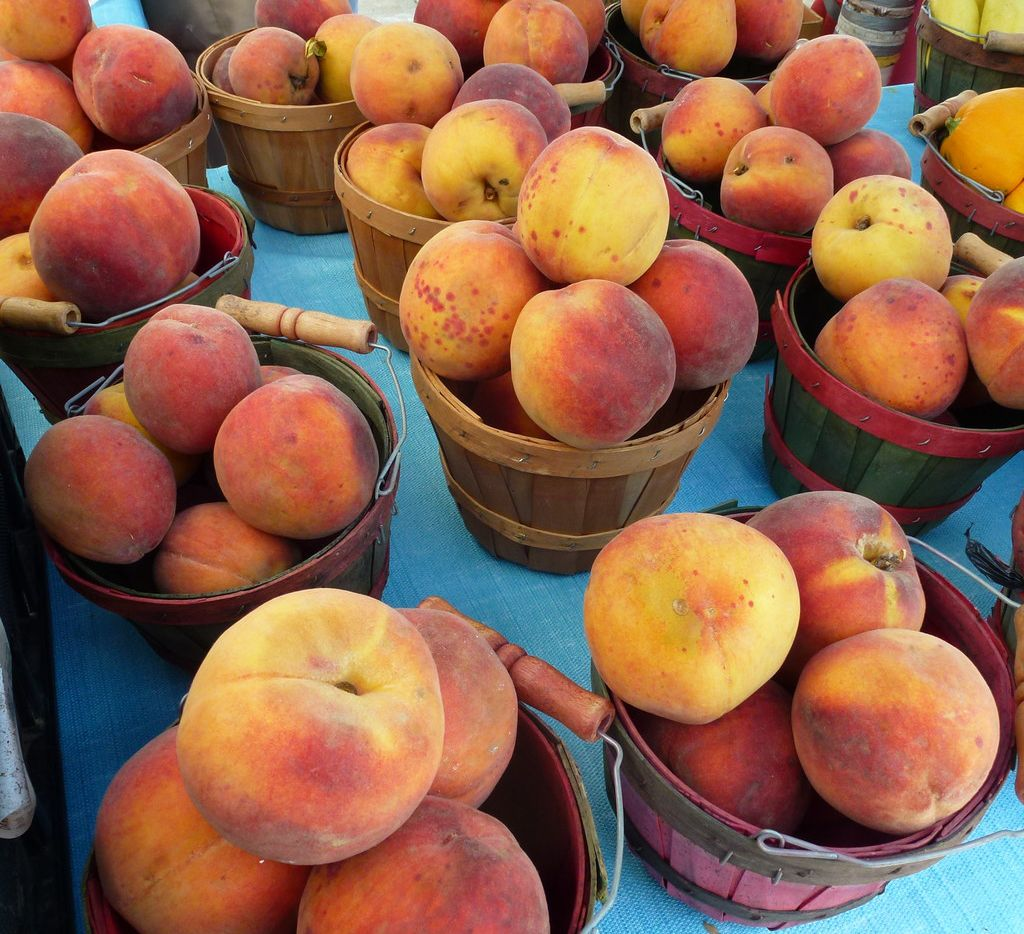Not Georgia peaches. But Texas has many varieties including La Esperanza peaches. Photographed in July 2018 at the West Plano Farmers Market.
