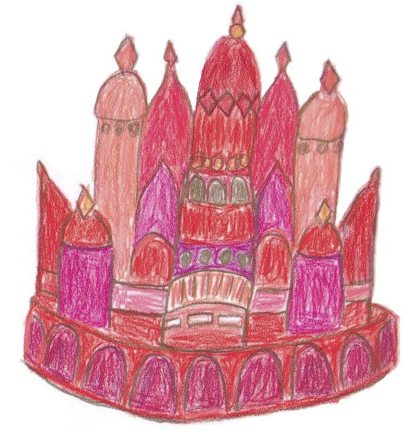 """Ruby City was born of one of one of Linda Pace's """"dream drawings,"""" a depiction of a walled city of dome-capped towers executed in red, orange and purple pencil, like something from the hand of a child."""